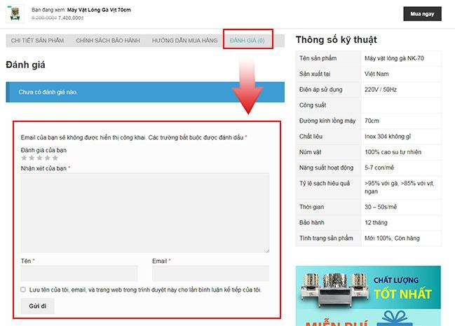 Quý khách để lại bình luận sản phẩm, đặt hàng dưới mỗi bài viết