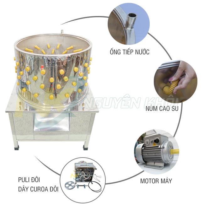 Cấu tạo máy vặt lông gà lông vịt Nguyên Khôi sản xuất từ Inox 304 không gỉ