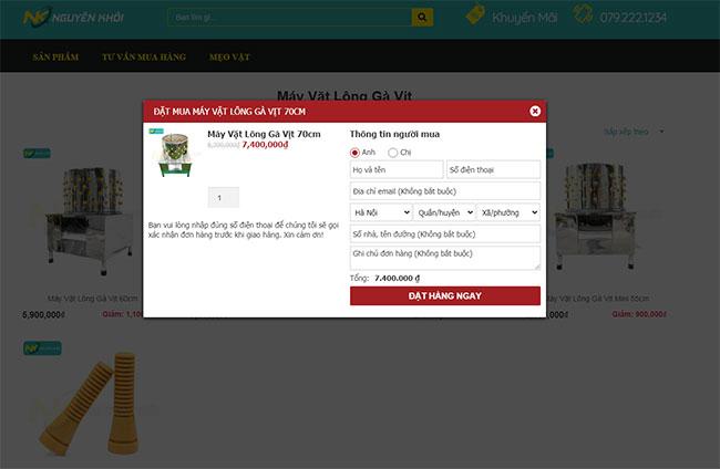 Điền đầy đủ thông tin liên hệ vào Form mua hàng để thuận tiện liên lạc và giao hàng
