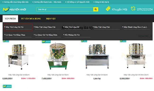 Lựa chọn danh mục sản phẩm tìm kiếm trên Website