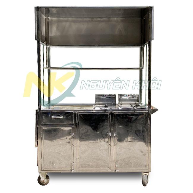 Xe gà rán Nguyên Khôi tích hợp bếp chiên nhúng điện đôi