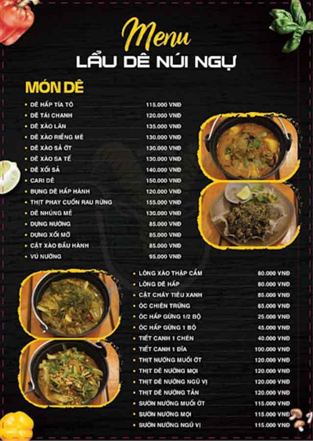 Lên menu quán lẩu dê đa dạng, thực đơn hấp dẫn